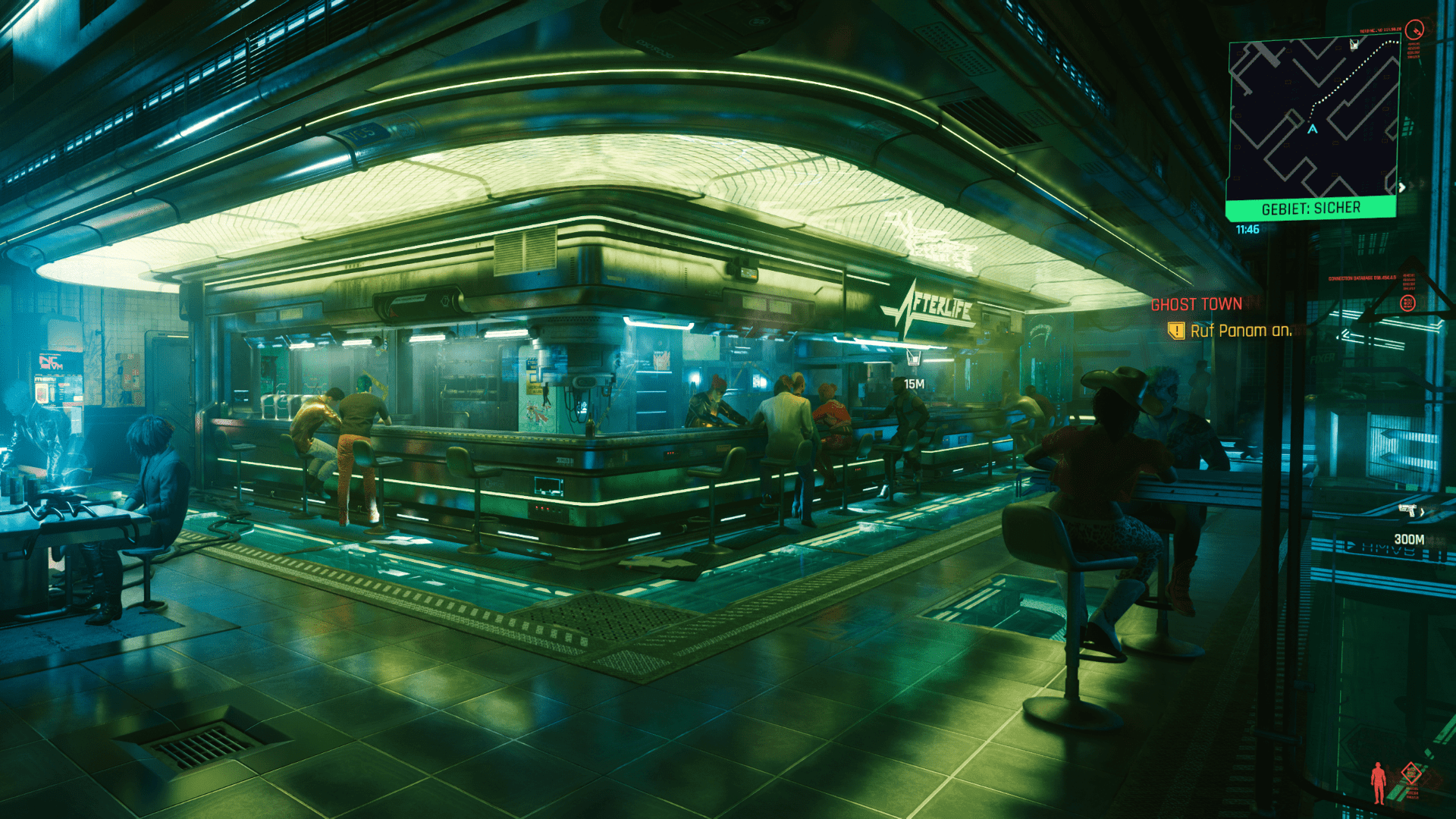 Barszene von Cyberpunk 2077 mit Raytracing aus