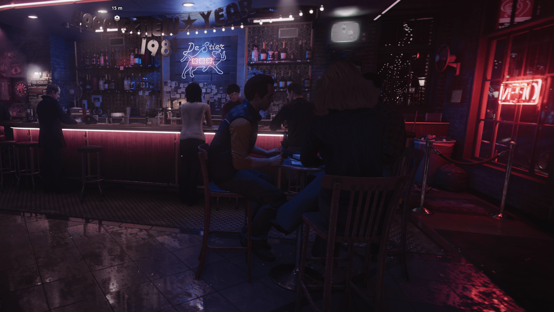 Barszene im dunkeln mit roter Ambientebeleuchtung Spiel Call of Duty